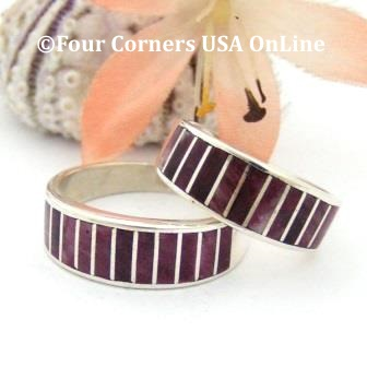 On Sale Now Purple Spiny Oyster Shell Inlay Band Rings Navajo Ella Cowboy Four Corners USA OnLine Native American Jewelry