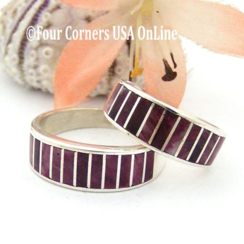On Sale Now Purple Spiny Oyster Shell Inlay Rings Four Corners USA OnLine Native American Silver Jewelry