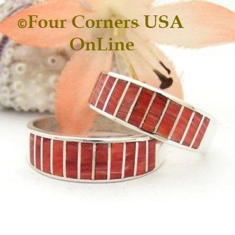 On Sale Now Red Spiny Oyster Shell Inlay Band Rings Navajo Ella Cowboy Four Corners USA OnLine Native American Jewelry