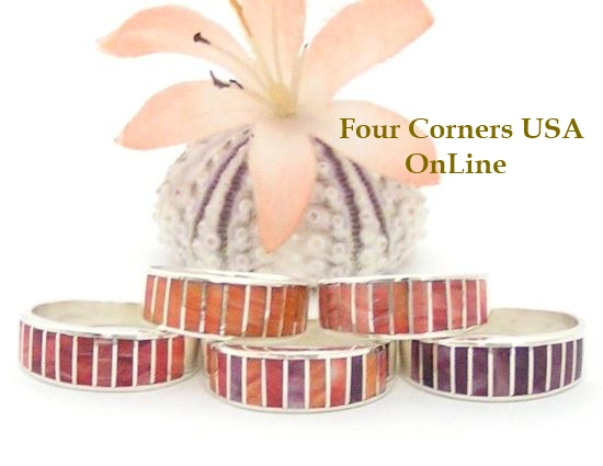 On Sale Now Spiny Oyster Inlay Band Rings by Navajo Ella Cowboy Four Corners USA OnLine Native American Jewelry