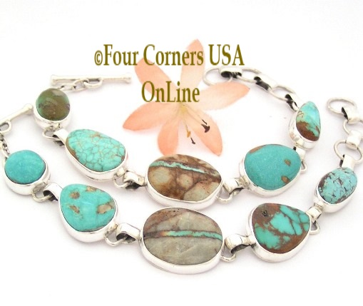 Turquoise Link Bracelets Four Corners USA OnLine Native American Silver Jewelry
