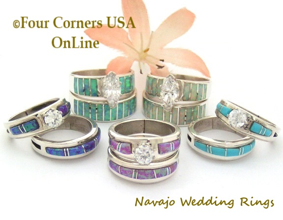 Navajo Bridal Engagement Wedding Band Ring Sets On Sale at Four Corners USA OnLine Native American Jewelry