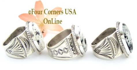 Size 10 and Larger White Buffalo Turquoise Ring Collection for Men and Women at Four Corners USA OnLine Native American Navajo Silver Jewelry