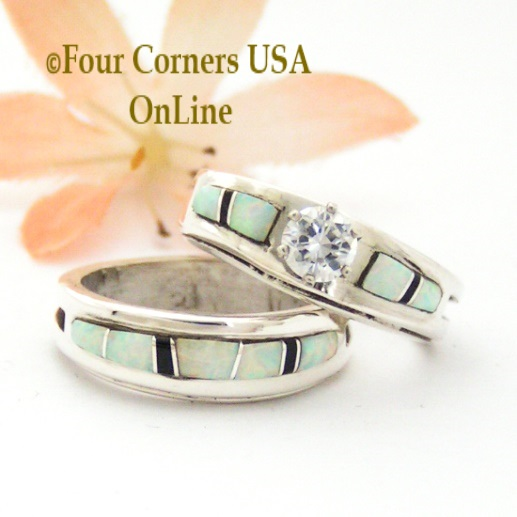 White Black Bridal Wedding Set Four Corners USA OnLine Native American Silver Jewelry