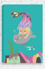 An elegant mermaid swimming with a handsome seal friend. With her arms wrapped around the seal in a loving embrace, they both float in an aqua colour plain ocean background with a flashy themed coral sea floor. Gallery wrapped and ready to hang on the wall of any little girl's bedroom.