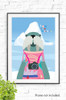'I Am The Walrus - Pink' Wall Art Print with a happy, tourist inspired walrus, illustrated in front of a tall iceberg. A simple design using pastel colors.
