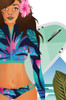 Zoomed in Beach Babe illustration with tanned girl carrying surfboard in tropical colour wetsuit.