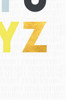 A zoomed in image of the bottom right corner of the artwork. Showing the Y and Z in a yellow and gold colour, and the fresh light grey background with a hand drawn line patten, all in a slightly darker grey.