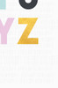 A close up image of the Alphabet poster showing the Y and Z in pink and gold, set on a background of light grey and hand drawn pattern.