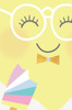 A close up image of the lemon's face from the Luca Rose Designs Tooty Fruit canvas collection. The lemon wears a pair of white, round glasses and has a very happy look on it's face.