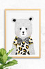 A wall art poster designed by Luca Rose Designs that features a smart looking bear, hand illustrated that wears a leopard print t-shirt and a black and white striped bow. The background is light grey and the poster is framed in an oak finish frame.