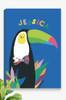 A bright and colourful, ready to hang canvas personalised with the name of a child at the top. Featuring a vibrant and happy toucan, a patterned bow-tie and bright foliage at the bottom. Set on a vibrant cobalt background, this canvas is a unique gift idea for that special little lady in your life.