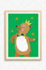 An illustrate poster designed by Luca Rose Designs. The artwork features a brown bear wearing a large patterned bowtie and gold crown. The bear has a large smile and happily dances and juggles orange balls above its head. Framed in an oak wooden frame and mounted on a wall. 100% Australian designed and made.