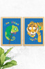 A trendy set of prints for kids featuring a bright chameleon and sleepy tiger, both wearing a floral pattern bowtie. Team up with our other jungle fever prints to complete the collection.