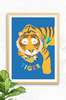 The tiger king craze has hit Luca Rose Designs! A bright orange tiger, with calm sleepy eyes and a floral bowtie. The word tiger is placed underneath the giant cat and all set on a bright blue background.