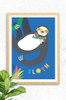 A friendly sloth print digitally illustrated and perfect for any little person's room.
