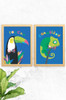 A perfect pair of unique prints for kids bedroom with a jungle theme. One illustration of a toucan and the other a gorgeous chameleon. Both are dressed in a colourful bowtie and set on a beautiful blue background.