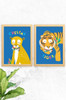 A 2 pack of prints with a jungle theme for kids nursery or bedroom. One with an orange cheetah, and the other a tiger. Both with a peaceful with a colourful bowtie around their necks. Set on a blue background with the words cheetah and tiger playfully arranged around the animals.