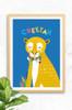 Digitally illustrated cheetah wall art print for children.