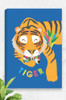 A bright tiger illustration printed on a ready to hang canvas. Available in three sizes and 100% designed and made in Australia. The peaceful big cat is sleepy and wears a bright floral bowtie around it's neck.