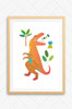 A Luca Rose Designs kids poster illustration featuring a bright orange T-Rex dinosaur with the word ROAR coming out of its open mouth. Green plants surround the dinosaur and it is all set on a white background. Designed and printed in Australia.