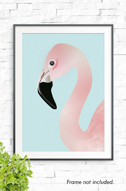 A pink flamingo illustration, that has a long curving neck and black beak. A wall art print with a pale aqua background.