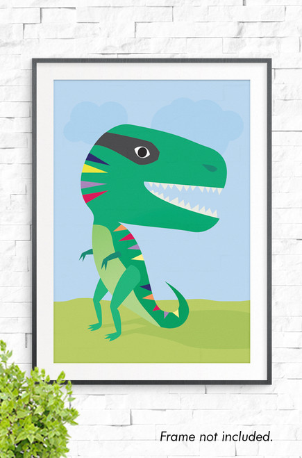 A wall art print with an illustration of a bright green t-rex. The dinosaur has a lime colored tummy and red, orange, navy and yellow triangles running down it's back. It stands on a green hill with a blue background,