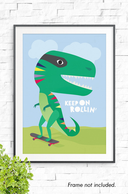 An illustration of a green dinosaur happily riding a skateboard down a green hill. It has a big smile and colorful triangles down it's back. The words Keep on Rollin' are written in white reversed out of the pale blue sky background.