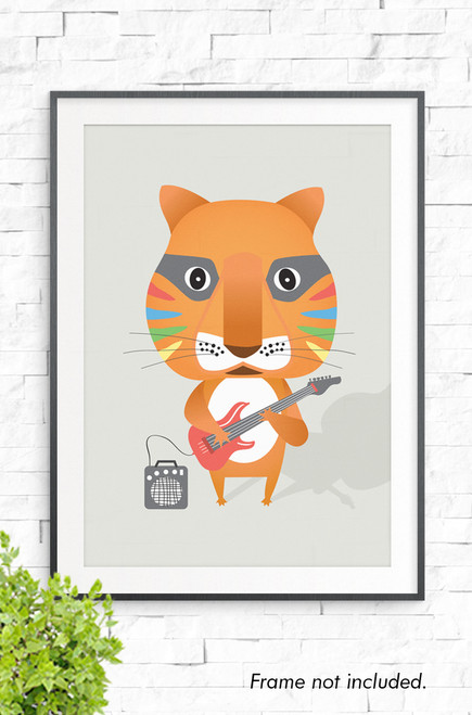 Set on a beige background, this is a wall art print featuring an orange tiger playing a red electric guitar, connected to an amp. It has a white tummy and checks and the face has colored triangle down each side.