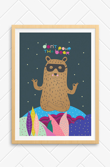 Illustration of a peaceful brown bear with black superhero mask in yoga position. Don't Poke The Bear words written above his head in colourful type. Charcoal background and black border, perfect with kids bedrooms.