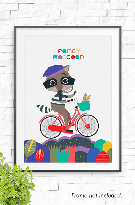 A detailed illustration of a racoon dressed in a stripy outfit and black mask. On it's head is a purple buret and it rides a red bike across a colorful landscape below. Above it's head are the words 'Fancy Racoon'.