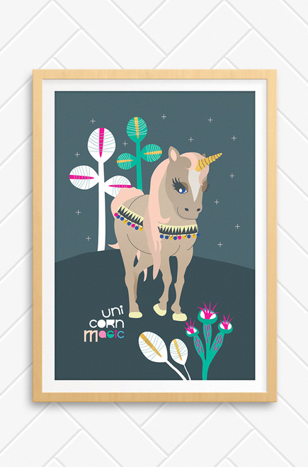 Elegant unicorn with decorative saddle pieces and peach coloured hair. Charcoal background and the words Unicorn Magic in coloured type. Available with and without frame.