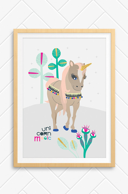 Vector illustration poster of elegant unicorn with peach coloured hair. Pastel colour plants and a light grey background. Perfect for girls bedroom, playroom or nursery.