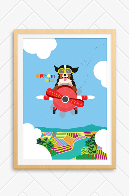 Wall art poster for children which features a happy dog flying a red plane above farm land and through the clouds. The words Dream Big are placed above the plane in a colourful font.