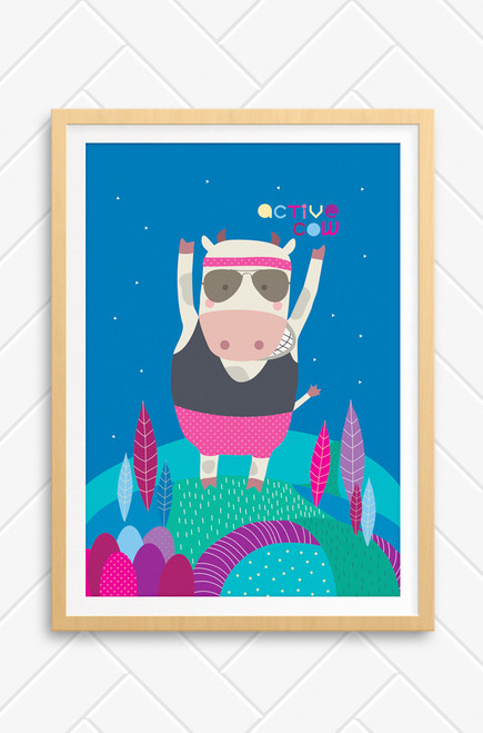 A wall art print of a cow standing on top of a hill. It is wearing exercise clothes and has his exercise clothes on. Wearing a pair of aviator sunglasses the cow looks like it is ready to run. The background is a blue night sky with the words 'Active Cow' written at the top.