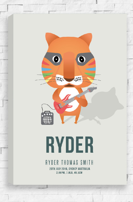 A striking illustration of an orange tiger playing an electric guitar connected to an amp. This rock-star animal is printed on a ready to hang canvas and is set on neutral, beige background. Below the tiger is the personalised details of a child, with the birth information underneath, all in a modern sans serif font.