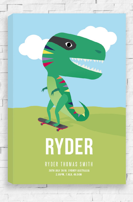 A personalised canvas with a child's name written at the bottom and birth details below. Above is a happy green dinosaur with colorful triangles running down it's back. Perched on a skateboard, it rolls down a green hill with it small arms out in front for balance. The background is a sunny blue sky scattered with white clouds.