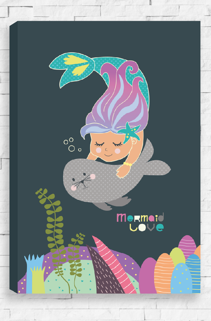 A charming mermaid with a sweet grey seal, embrace in the deep ocean water. Below them is a stunning around of coral mounds and floating seaweed. A stretched, ready to hang canvas with gallery wrapped edges.