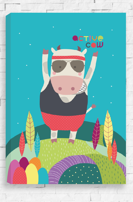 Active Cow canvas showcases a boisterous, energetic cow dressed head to toe in active wear. With a cool pair of aviator sunglasses on, he stands with his arms in the air on a colorful landscape. Set on a bright blue night sky the canvas has the words Active Cow written in a playful font in the top corner.