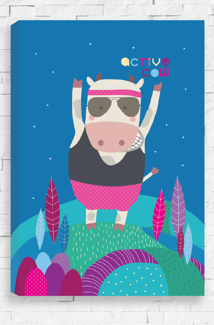 With a deep blue night sky and colorful rolling landscape, an Active Cow stands, arms in the air, ready to run. It wears a grey single and pink exercise shorts with a matching headband, all topped off by a cool pair of aviator sunglasses. A bold and humorous canvas.