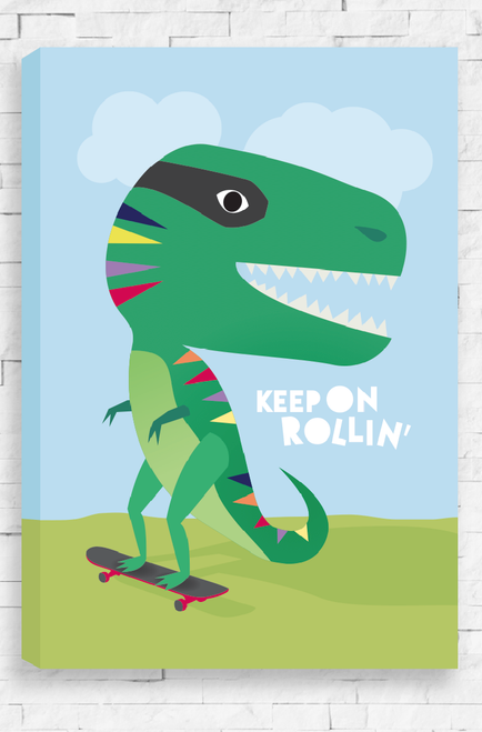 A friendly looking, green dinosaur gliding down a hill on its red and grey skateboard. With its small hands out for balance, this t-rex has the words 'Keep On Rollin' written in a playful font just under its mouth. Available in a ready to hang canvas or wall art print.