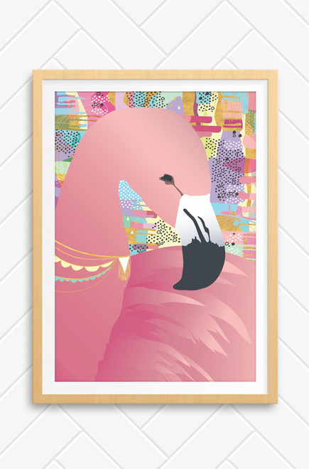 Framed Sweet Dreams wall art print with bright pink flamingo,  jewelled necklace and colourful, abstract background. Also available unframed. A sweet addition to a wall in a girls nursery.