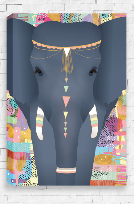 Sweet Dreams ready to hang stretched canvas for kids bedroom or nursery with jewelled elephant on a patterned background.