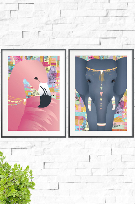 Sweet Dreams Elephant and Flamingo combine to make an elegant addition to any girls bedroom or nursery wall. Designed with matching pastel colored backgrounds, one print features and elegant pink flamingo and the other a powerful elephant, both dressed with jewellery and tribal markings.