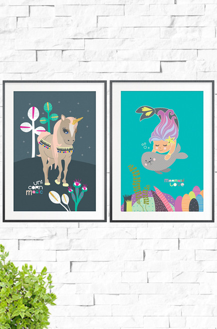 Unicorn Magic and Mermaid love wall art prints team up to make a perfect pair for a little girls bedroom wall. One with a fantastic unicorn trotting across a charcoal colored hill spotted with simple plants, the other a purple and pink mermaid, swimming with a seal above a seafloor of coral and plant life.