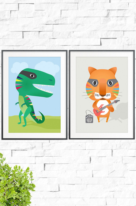 A matching pair of prints, Smileysaurus and Rock On. The first a poster displaying an excited green dinosaur with a hug smile, and the second staring a rockstar orange tiger with his favourite electric guitar. Vibrant addition to any kids room!