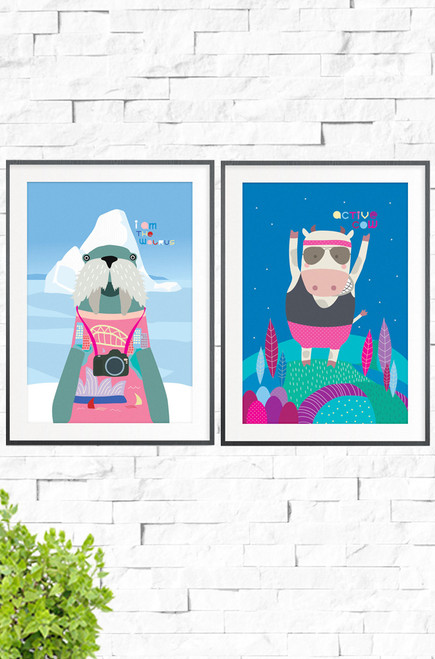 Featuring pink accents, this set of 2 funny wall art prints is perfect for a kids bedroom. Firstly, I Am The Walrus, features a quirky walrus wearing a pink knitted jumping, poses in front of an giant iceberg. The Second, a cow jumping for joy, all dressed in its active wear. What a pair!  and Active Cow Prints Wall Art Prints