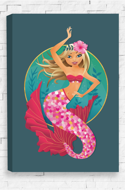 Majestic Mermaid canvas features a pink hibiscus flower set on a hairband in the mermaid's blonde hair. She  floats freely in the ocean with a vibrant magenta outfit, with gold and silver sparkling accents, on a blue, ocean background.