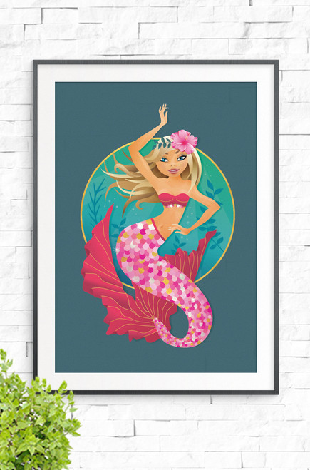 Illustrated wall art print of the Majestic Mermaid who happily floats and dances in the depths of the sea, with an ocean blue background. Vibrant, feminine pinks contrasting with beautiful blue and aqua tones. Gorgeous gift idea for any girl!