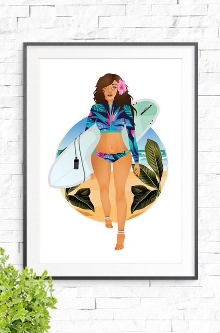 Beach Babe wall art print featuring illustration of surfer girl in floral swimsuit, walking off the beach with a surfboard under her arm. Bright pink hibiscus in her long hair, shell anklet and an aqua surfboard, all set on a fresh white background.